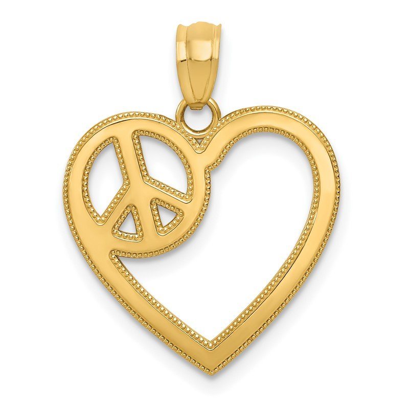 Quality Gold 14k Heart with Peace Sign Pendant