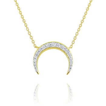 14K Gold and Diamond Luna Moon Necklace