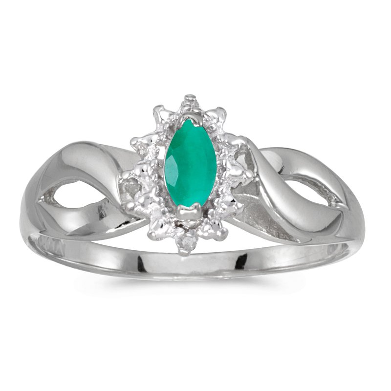Color Merchants 14k White Gold Marquise Emerald And Diamond Ring