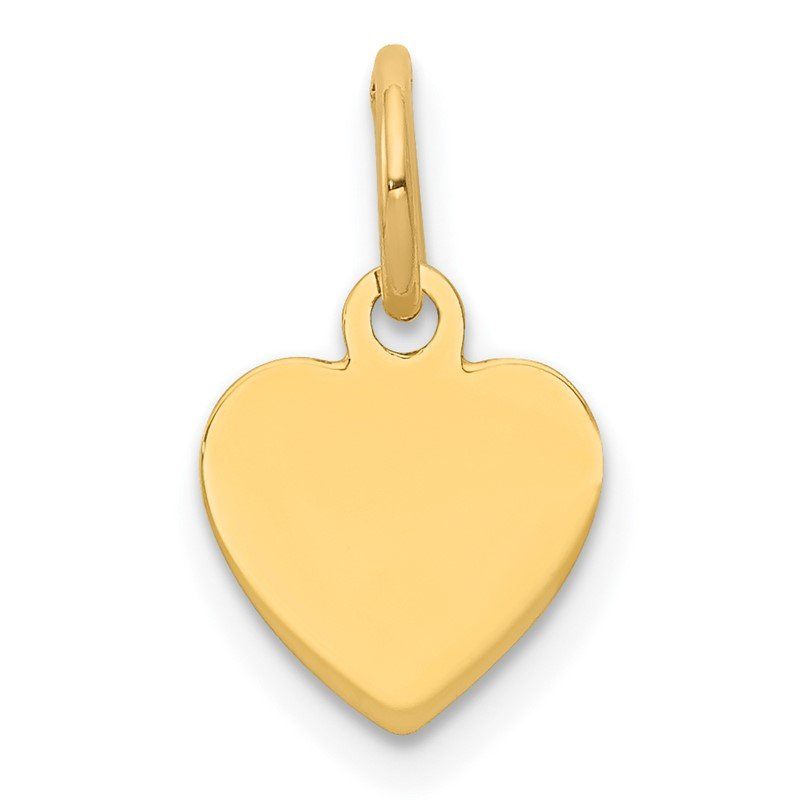 Quality Gold 14k Plain .009 Gauge Engravable Heart Disc Charm