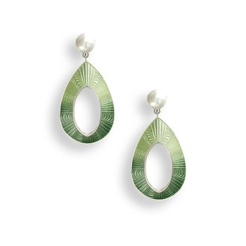 Green Teardrop Stud Earrings.Sterling Silver-Freshwater Pearls