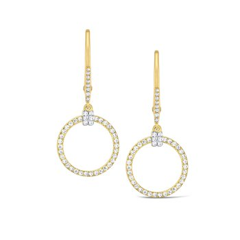 Diamond Circular Frame Earrings Set in 14 Kt. Gold