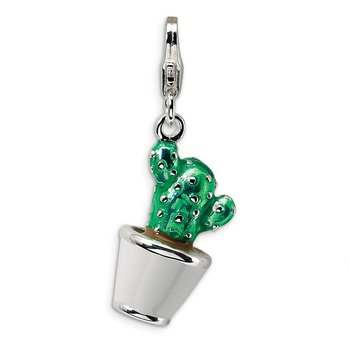 Sterling Silver 3-D Enameled Potted Green Cactus w/Lobster Clasp Charm