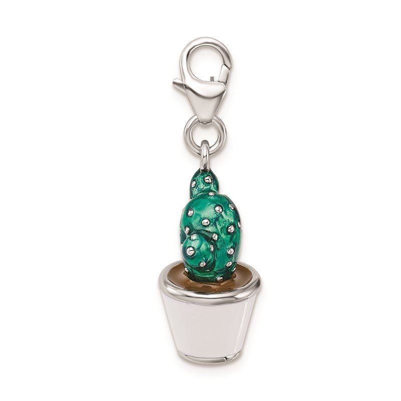Quality Gold Sterling Silver Amore La Vita Rhod-pl 3-D Enameled Potted Cactus Charm