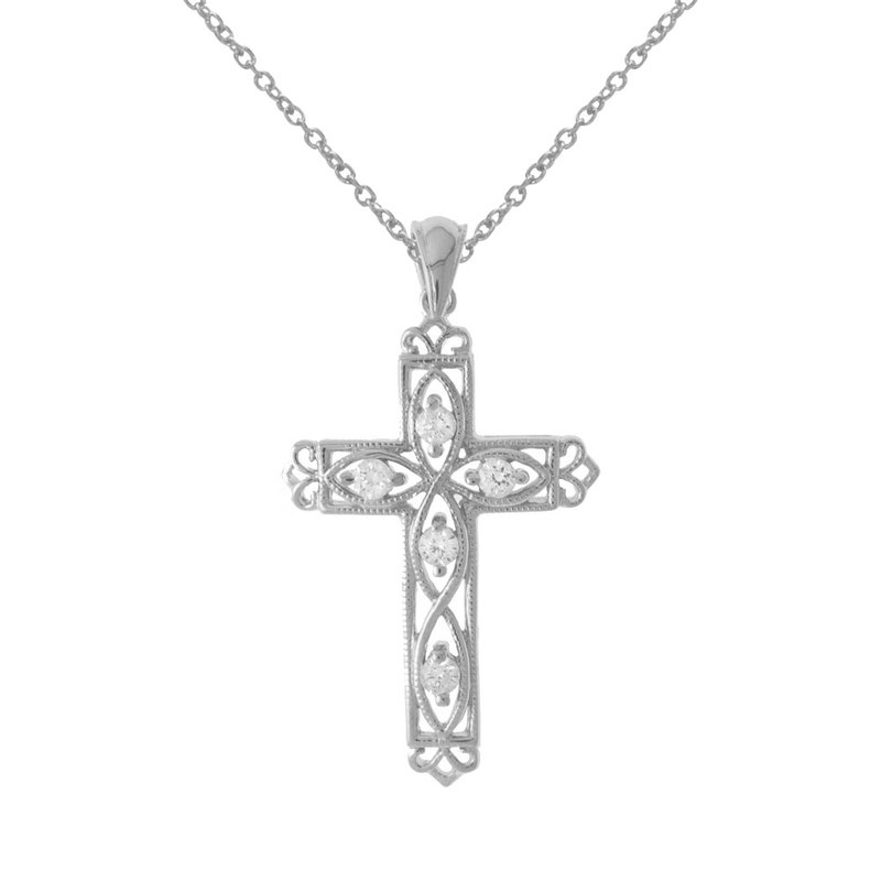 14K White Gold .25 Ct Diamond Filigree Cross Pendant