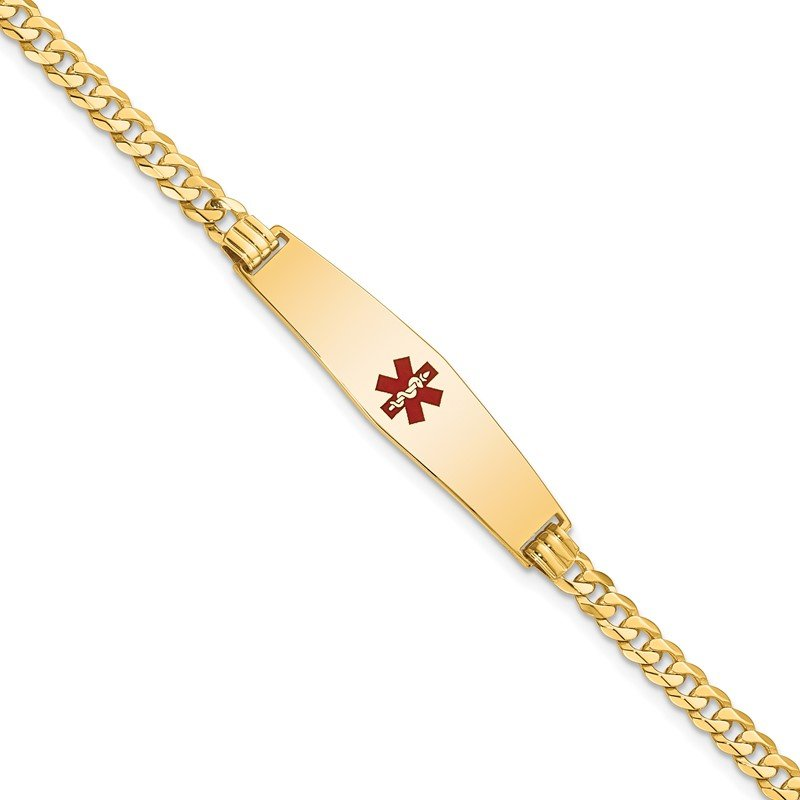 Quality Gold 14K Medical Soft Diamond Shape Red Enamel Flat Curb Link ID Bracelet