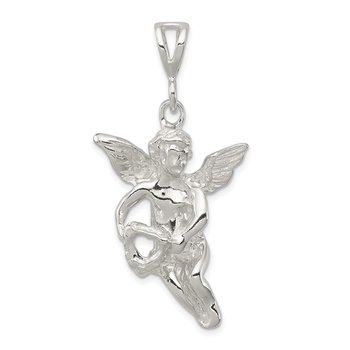 Sterling Silver Polished & Textured Flying Angel w/Heart Pendant