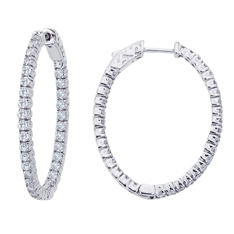 Color Merchants 14K White Gold 1.98 Ct Diamond Oval Secure Lock Hoop Earrings