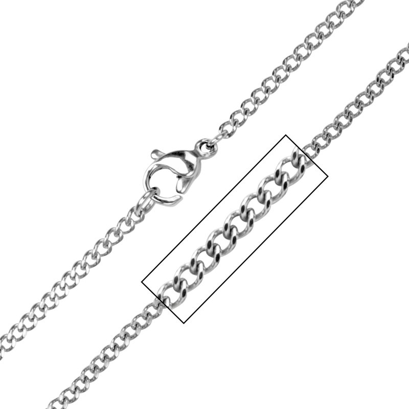 INOX Men's Jewelry 2.3mm Diamond Cut Two Face Style Chain