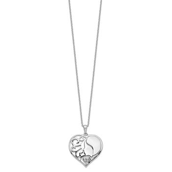 Sterling Silver CZ My Daughter, My Heart's Treasure 18in Necklace