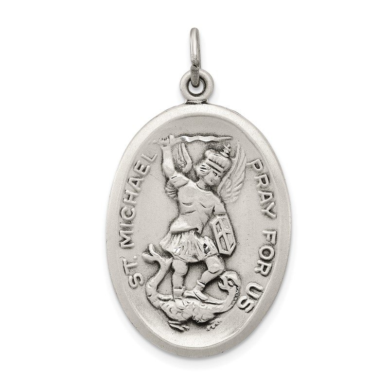 Quality Gold Sterling Silver Reversible St. Michael Medal
