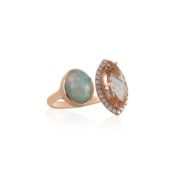 Toi & Moi Opal & Morganite Ring 18KR