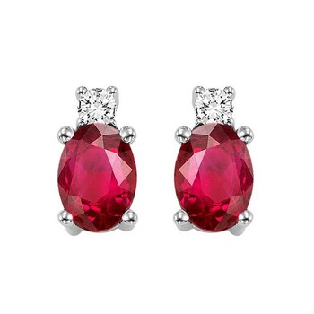 Oval Ruby & Diamond Earrings in 14K White Gold (1/14 ct. tw.)