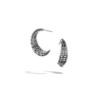 Dot Hoop Earring in Hammered Silver