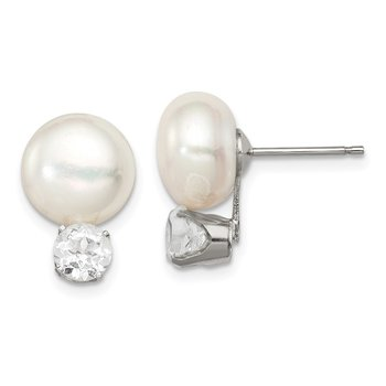 Sterling Silver 10-11mm FWC Button Pearl w/White Topaz Earrings