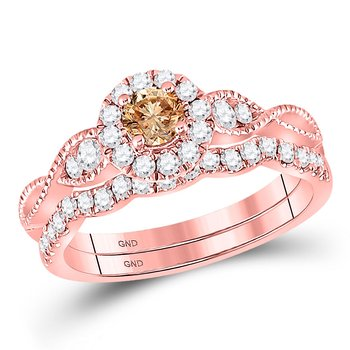 14kt Rose Gold Womens Round Brown Diamond Bridal Wedding Engagement Ring Band Set 3/4 Cttw