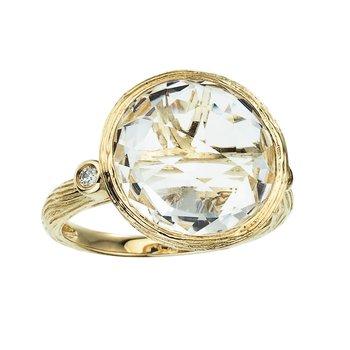 14k Brushed Yellow Gold Round White Topaz and Diamond Ring