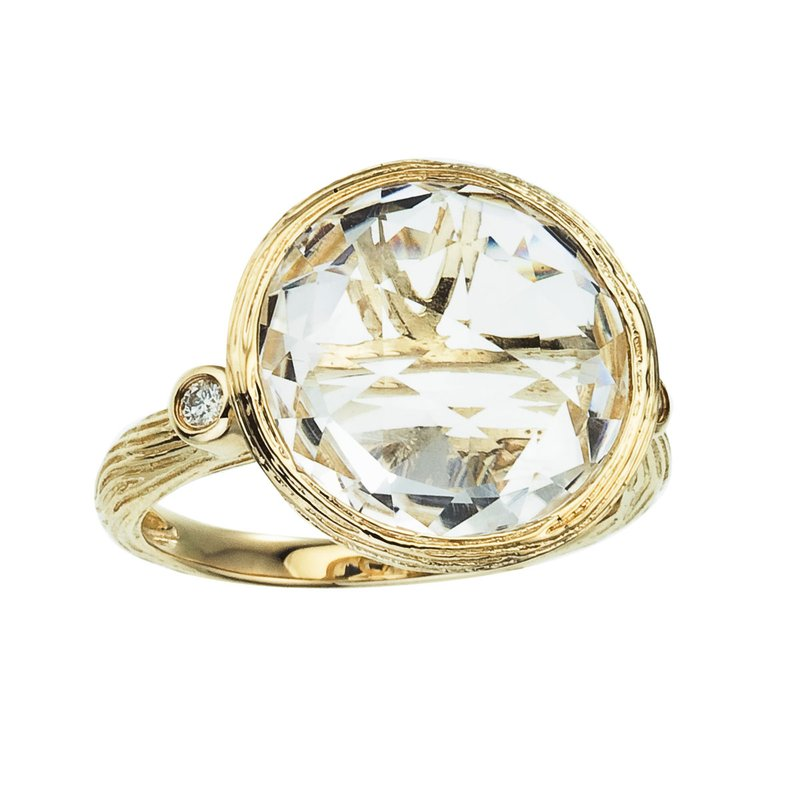 Color Merchants 14k Brushed Yellow Gold Round White Topaz and Diamond Ring