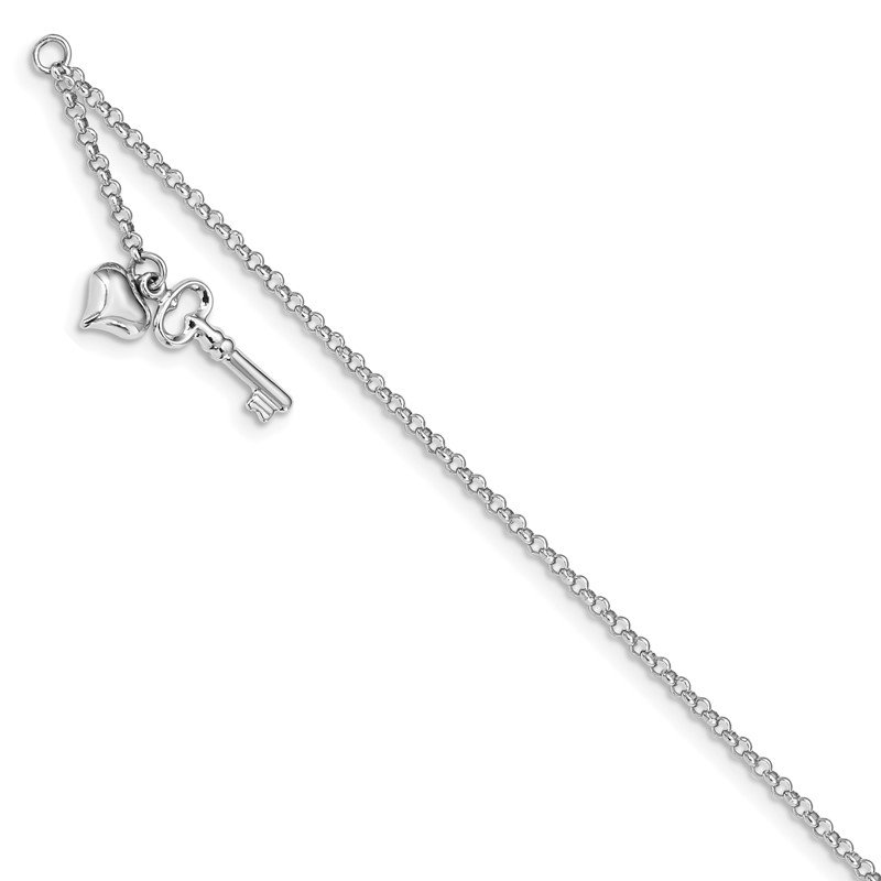 Quality Gold 14k White Gold Adj Polished Puffed Heart Key 9in Plus 1in ext. Anklet