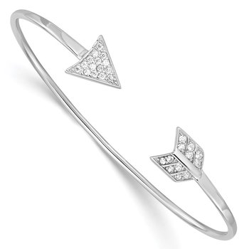 Sterling Silver Rhodium-plated CZ Arrow Cuff Bangle