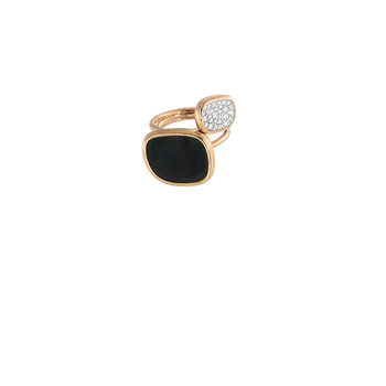 18KT GOLD RING WITH BLACK JADE AND DIAMONDS
