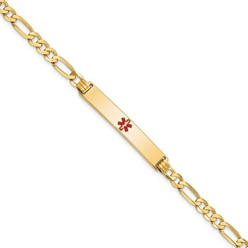 14K Medical Red Enamel Flat Figaro Link ID Bracelet