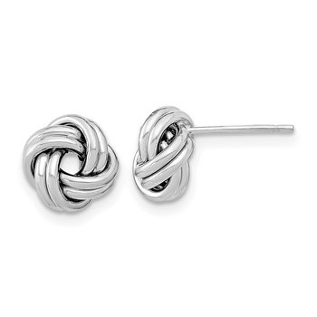 14k White Gold Polished Double Love Knot Post Earrings