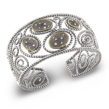 Sterling Silver and 14K Hinged Cuff Set with Diamonds in Black Rhodium