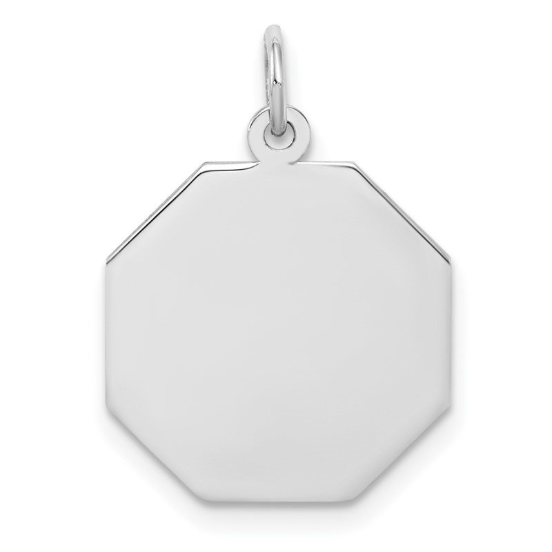 Arizona Diamond Center Collection SS Rh-plt Engraveable Octagon Polished Front/Satin Back Disc Charm