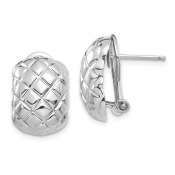 14k White Gold Polished Quilted Omega Back Post Earrings