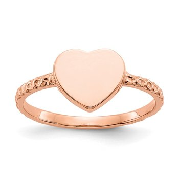 14k Rose Gold Polished Textured Heart Ring