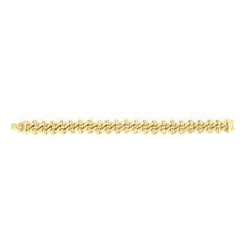 14K Gold Double Bar Heritage Link