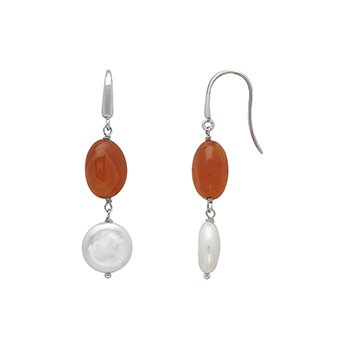 Honora Sterling Silver 13-14mm White Coin Freshwater Culture Pearl with Orange Chalcedonyx Drop Earrings