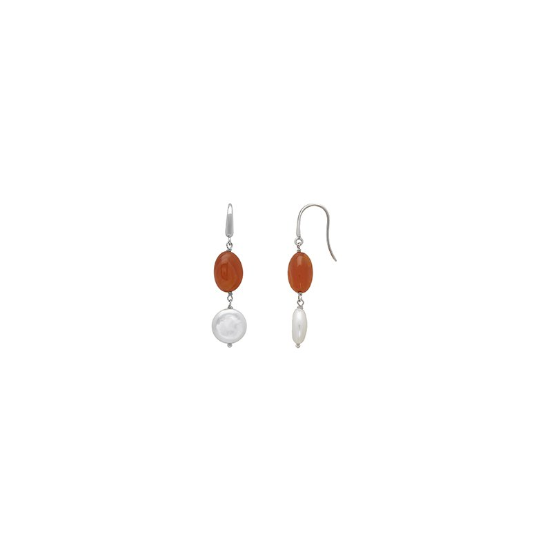 Honora Honora Sterling Silver 13-14mm White Coin Freshwater Culture Pearl with Orange Chalcedonyx Drop Earrings