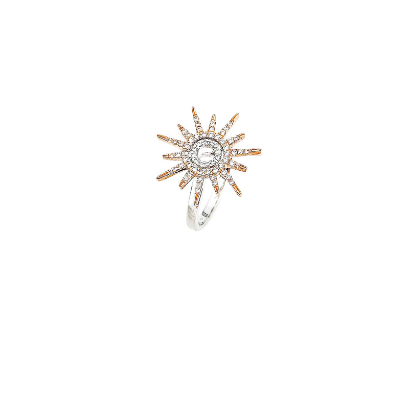 Roberto Coin 18Kt Gold Sun Ring With Diamonds