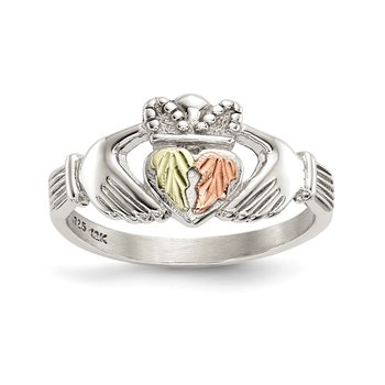 Sterling Silver & 12k Accents Claddagh Ring