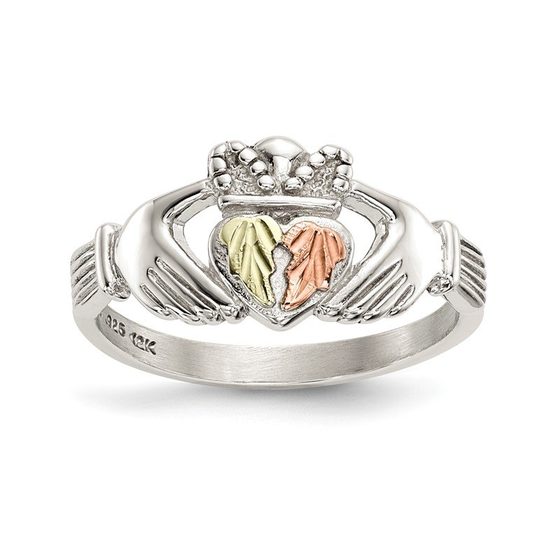 Quality Gold Sterling Silver & 12k Accents Claddagh Ring