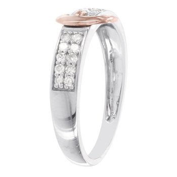 Sterling Silver and 10k Rose Gold 1/5ct Diamond Buckle Promise Ring