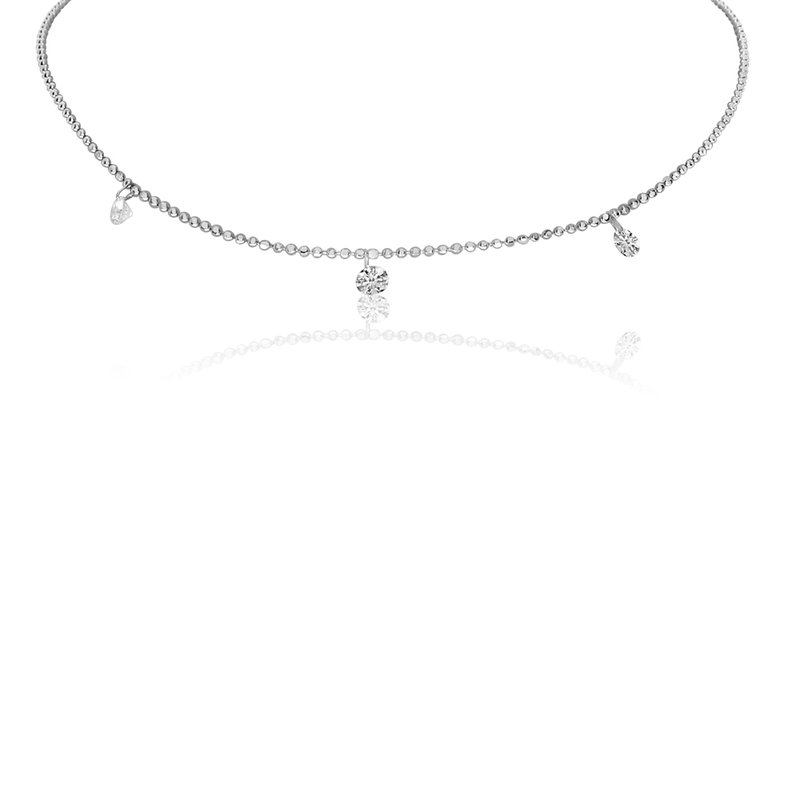 "Color Merchants 14K White Gold .30 Three-Stone Diamond Necklace with 18"" Chain"