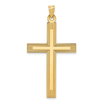 14k Laser Etched Cross Charm