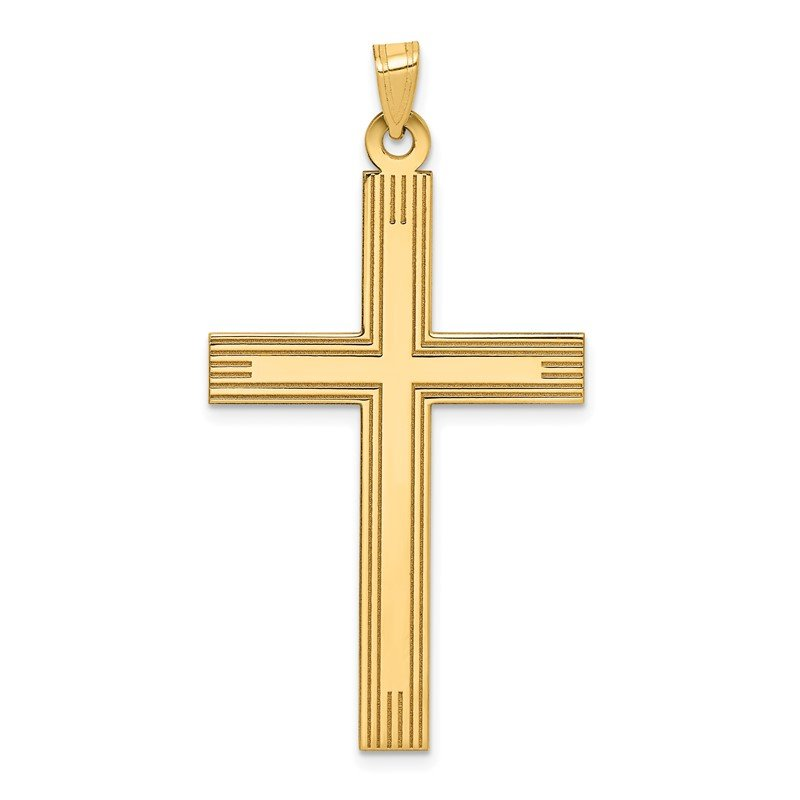 Quality Gold 14k Laser Etched Cross Charm