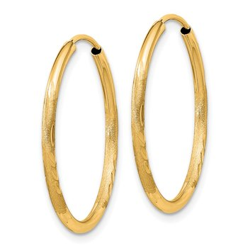 14k 1.5mm Satin Diamond-cut Endless Hoop Earrings
