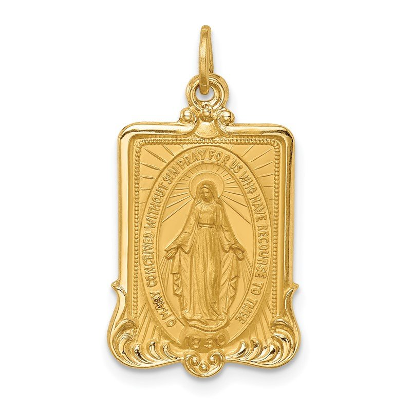 Quality Gold 14k Solid Polished/Satin Large Rectangle Framed Miraculous Medal