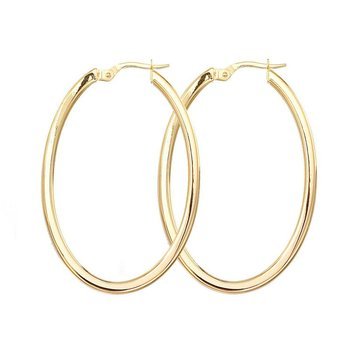18KT GOLD LARGE OVAL HOOP EARRINGS