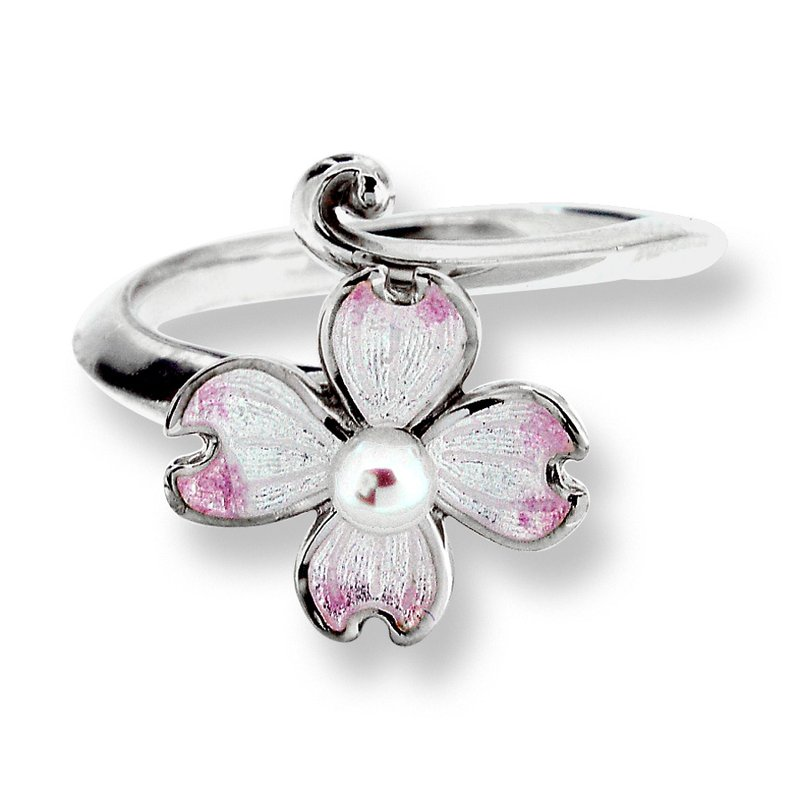 Nicole Barr Designs White Dogwood Ring.Sterling Silver-Akoya Pearl