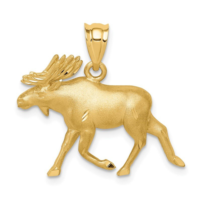 Quality Gold 14K Brushed & Diamond-cut Alaskan Moose Pendant