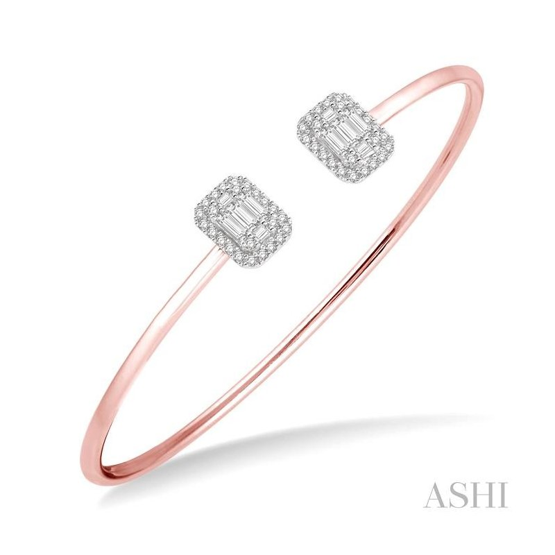 ASHI fusion diamond open cuff bangle