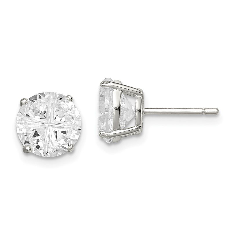 Quality Gold Sterling Silver 8mm Round Basket Set Cross-cut CZ Stud Earrings