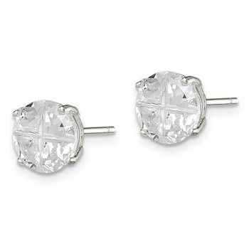 Sterling Silver 8mm Round Basket Set Cross-cut CZ Stud Earrings