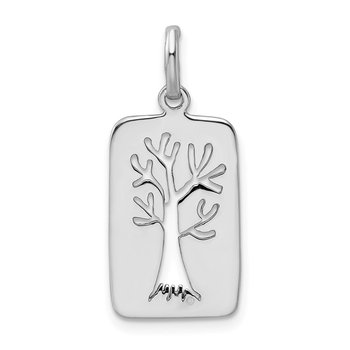 Sterling Silver Rhodium-plated Polished Tree Cut-out Charm